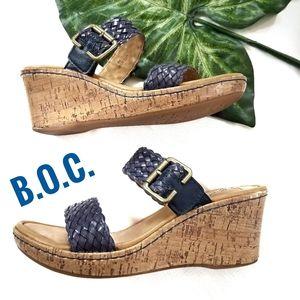 BOC Platform Cork Wedge Slip-on Sandal Blue Woven